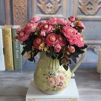 Flores artificiais Buquê Filial Elegante Vivid Fake Silk Peony Artificia para festivo festa de casamento Home desk Office Hotel Decor1