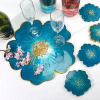 티 트레이 코스터 몰드 슈트 꽃 도구 모양의 수제 크리스탈 에폭시 수지 실리콘 화이트 몰드 DIY 32QZ J2