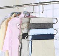 새로운 하우스 키핑 5 레이어 스테인레스 스틸 옷 걸이 S 모양 바지 저장 용 옷걸이 옷장 수납 랙 다층 보관 천 옷걸이