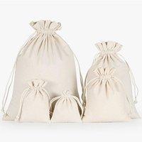 (1 peça de 5 sacos) de Preços por Atacado Natural Resuable Juta Linho Bolsa com cordão dom embalagem Bag Logo Impresso Jóias do Natal Bolsa