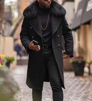 Ontwerper mannen wol trenchcoat faux bontkraag mode winter bedrijf lange dikke slim fit overjas jas parka heren kleding plus size 4XL