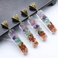 Сокрушенные каменные подвески 7 цветное ожерелье подвеска медитация позолоченные подвески прямоугольные украшения аксессуары высокого качества 4 8ks l2