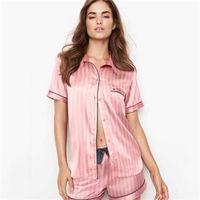 여성을위한 새틴 잠옷 여름 짧은 짧은 피자마 잠옷 줄무늬 실크 숙녀 잠옷 PJS 밤 착용 Loungewear 홈 슈트 201217