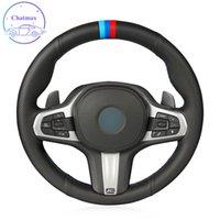 DIY-kundenspezifische Auto-Lenkradabdeckung für BMW M Sport G30 G31 G32 G20 G21 G14 G15 G16 G13 G01 X4 G02 X5 G05 Hand Nähen schwarz Echtes Leder