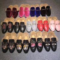 Tasarımcı Terlik Kadın Hakiki Deri Düz Süet Ayakkabı Çiçek Yılan Katır Moda Açık Sandalet Bayanlar Yaz Ayakkabı