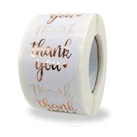 500 pcs 1.5inch obrigado etiquetas adesivas de ouro adesivos de casamento caixa de presente bolo bolo saco pacote envelope decor