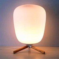 E27 Ultra Modern Mini Fashion Frosted Glass Lampy i Drewniany Wspornik Tekstury Lampa stołowa ze źródłem światła