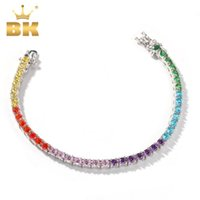 THE BLING KING Rainbow Colorful 4mm CZ Tennis Bracelet Copper Round Stones Purple 7inch Wholesale Fashion Jewelry Q1129