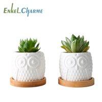 2 conjunto de vasos de flores suculentas cerâmicas vasos de flores brancas com suporte de bandeja de bambu bonito cacto vasos de flores bonsai plantadores desktop t200104