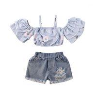 Toddler Baby Kids Girls Vestiti Off Spalla T-shirt Tops + Denim Skirt Shorts Outfits Abbigliamento bambino Set1