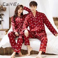 Caiiier зимняя пара пижамы набор шелк любит печать с длинным рукавом пиджаки мужчины женщины повседневная большие размеры любителей ночной одежды m-5xl 201030