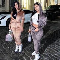 Yeni Kader Eşofman Fermuar Cep Kırpılmış Kazak Dantelli Sweatpants Ve Hoodie Set Kadın Casual Streetwear Sonbahar Takım Elbise