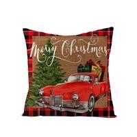 18 بوصة عيد الميلاد المخدة منقوشة مطبوعة الكتان ديكور رمي وسادة غطاء المنزل أريكة الزخرفية وسادة القضية YYF3448