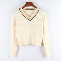 Chunky 니트 여성 패션 2020 가을 겨울 한국 긴 소매 풀오버 V 넥 여성 스웨터 니트웨어 점퍼