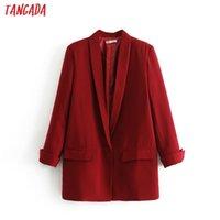 Tangada Fashion Rouge Black Blaser Femme manches longues collier en collier élégant dames Travail occasionnel Marque DA17 201201