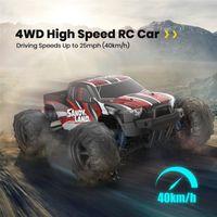 DEERC RC Carro Elétrico 1:18 Escala 30+ MPH 4WD Off Road Monster Trucks All Terreno 40km / H Alta Velocidade Corrida de carro Brinquedo para crianças 201218