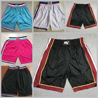 MännerMiamiWärmebasketballspieler tragen Basketball-Shorts auf dem Gerichtshof; Swingman näht gestickte Basketball-Kurzschlüsse