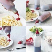 Compagnons en silicone bouteille d'extrusion de ketchup salade de soja sauce huître sauce condiment réservoir bbq outils bouteilles avec divers modèles 6 2GF J1