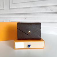 Высочайшее качество Женщины Оригинальная коробка Кошельки реальная кожа многоцветный короткий кошелек держатель для карт Classic Cocket Cocket Designer кошельки