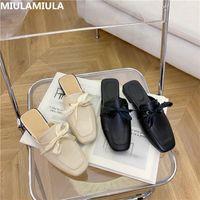 Дизайн бренда Miulamiula 2020 осенью квадратный носок сладкий бабочка-узла плоский тапочка кожаные слайды мокасины мулы флипсайт