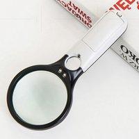 3 luces magnificador altas 3/45 veces Apreciación de mano Espejo de mano Espejo de lupa Identificación de joyería antigua Lupa vitrales VTKY2057