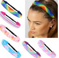 Krawatten-Farbstoff-Farbband-Stirnband-Regenbogen-Haar-Band Wraps Kinder Womens Sport-Kopf-Band-Skidproof Headwrap Headwear-Zubehör 2020 E120409