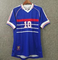 Velvet 1998 França Retro Jerseys Zidane Jersey Henry Vintage Vintage 98 Camisa de Futebol Maillot de pé