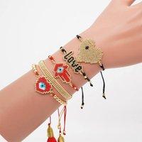 Charme Armbänder Boho Stil 5 stücke Ein Satz Türkisch Ewi Euce Armband Frauen Quaste Pulsera Mujer 2021 Herz Fatima Hamsa Hand Brac1