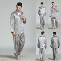 Stylish Bar Spring Summer Autumn Men Satin Silk Pyjamas Sets...