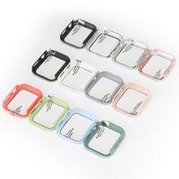 Apple Watch Smart Smart 1/2/3/4 / 5 사례 용 9H 강화 유리 필름이있는 PC 케이스 Iwatch 보호 커버 아제 20 색