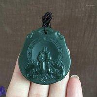 Lockets Natural autêntico Hetian Jade Stepping Green Fine Material Buddha Mão Pingente de Jóias HP90 # 1