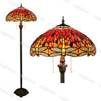 Lampes de plancher européen rétro multicolore verre solennelle rouge libellule 16 pouces 110-240V pour salon salle à manger chambre bar DHL