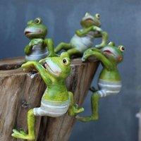 Dekoratif Nesneler Figürinler 4 ADET Hayvan Kurbağa Etli Pot Dekor Reçine Huggers Saksı Ofis Ev Bahçe Süsleme