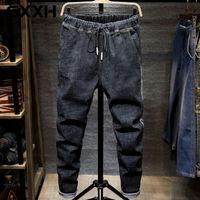 Stretch Denim Calças Grande Tamanho Grande 5xl 6XL 7xl Jeans Homem Preto Homens Plus Size 44 46 48 Harem Calças Autumn Elastic Blue Jeans