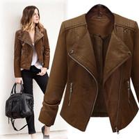 Vogue de Moda de Nova agradável do outono Faux Leather Jacket Brasão Mulheres Zipper Streetwear manga comprida Tops Casual Plus Size presente Casacos