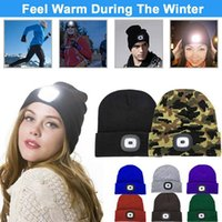 NEW LED Lighted Beanie Cap Men Women Knitted Hat Autumn Winter Warm Beanies Unisex Outdoor Headlight Hunting Camping Running Hat