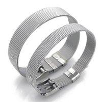 Charme Braceletes 8mm 10mm Encantos de Aço Inoxidável Ajuste Corrediça Liso Plano Letras DIY High Quanlity Wristbands Mulheres Homens Jóias