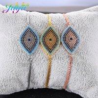 Juya Rainbow-Kristalle Griechische Augenarmbänder Liefert Micro Pave Zirkon Einstellbare Ketten Türkisch Böse Auge Charm Armbänder