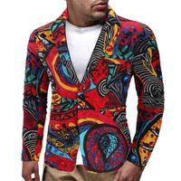 Giacca da uomo Blazer giacca floreale tuta risvolto slim fit elegante blazer tuta cappotto vintage stampa inverno cappotto casual cappotto parka per maschio