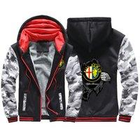 2020 Alfa Romeo Hiver Brand Imprimer Imprimé Veste Sport Homme Sweats à capuche Zipper Sweat-shirt Tracksuit College Épaissement Manteaux