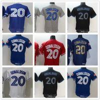 사용자 정의 남자 여자 청소년 토론토 블루 도매 제이 저지 # 20 Josh Donaldson 홈 블루 화이트 야구 유니폼