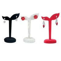 Malas de jóias, sacos Atacado / cinzento de veludo cinzento Earring stand adereços para Show Stud Holder Organizer Home