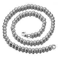 Ketten 6/8 / 10mm Mode Männer Frauen Silber Farbe 316L Edelstahl Rosenkranz Perlen Link Kette Halskette Armband Handgemachte Schmuck