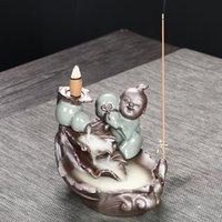 Gourd Doll Backflow Incienso Incenso Humo Cascada Incienso Cono Cono Soporte Cerámica Censher Creativo Decoración de Hogar Crafts