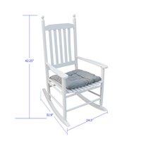 Chaise à bascule de porche Waco, facile à assembler en bois de taille confortable avec coussin, chaise de journal à usage extérieur ou intérieur, blanc