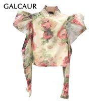 Galcaur Vintage Print Женская рубашка стойки воротник слойки с длинным рукавом тонкий большой размер повседневная блузка женская осень моды новый 201029