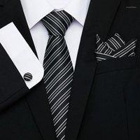 나비 넥타이 흰색 남성 세트 여분의 긴 크기 145cm * 7.5cm 격자 무늬 넥타이 100 % 실크 자카드 짠 목 넥타이 정장 웨딩 파티 1