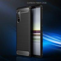 Business Case per Sony Xperia 5 10 1 II 8 20 XZ4 Compact 10 Fibre Inoltre XZ3 XA2 PLUS carbonio spazzolato TPU copertura del telefono