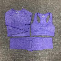 Mujer de algodón yoga traje Gymshark Sportwear Trajes de juego Fitness Sport Tres piezas Set 3 Pantalones Sujetadores T Shirts Leggings Outfits 01 01