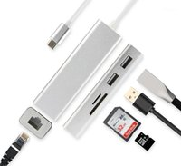 المحاور نوع C مركز محول USB-C محول قفص الاتهام جيجابت إيثرنت USB SD TF Reader Multi Port Thunderbolt 3 for Pro Air 20211